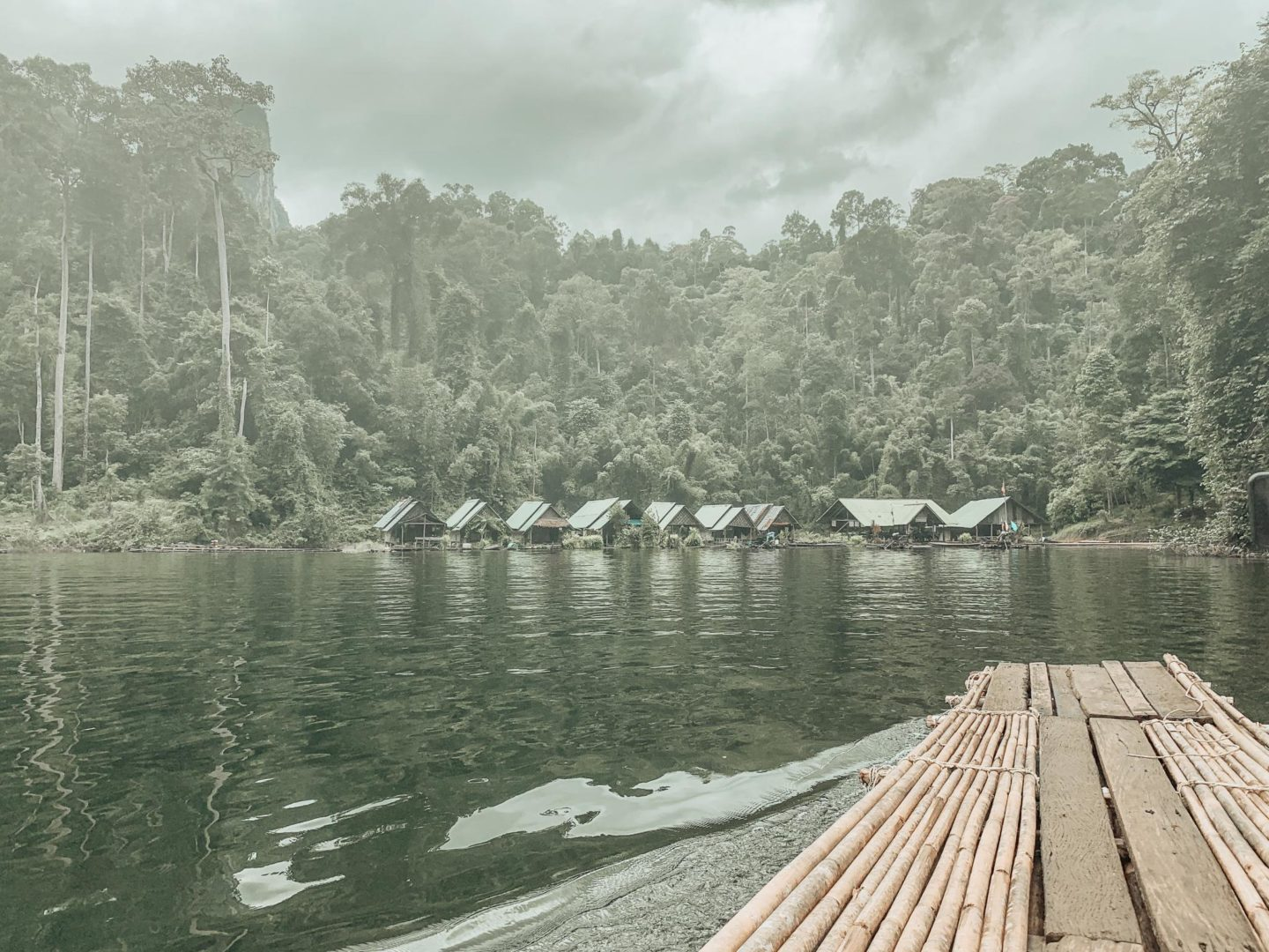 The view from the bamboo raft on Ha Roi Rai towards the floating ranger station